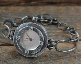 handcrafted silver watch, rough raw oxidized silver watcht, artisan unique silver watch