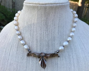 Cultured Baroque Pearls Choker with Sterling Pendant 17""