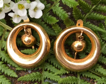 Vintage 18k Gold Dangle Earrings  Portuguese Gold Circle Earrings 19k Gold