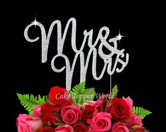 Mr and Mrs rhinestone cake topper. Genuine Crystal wedding cake decoration, Wedding quote cake topper