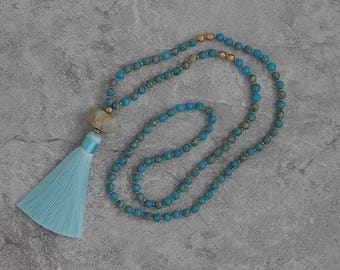 white pendent necklce ocean blue jasper necklace blue necklace tassel necklace long beads necklace white Labradorite beads necklace NL-053