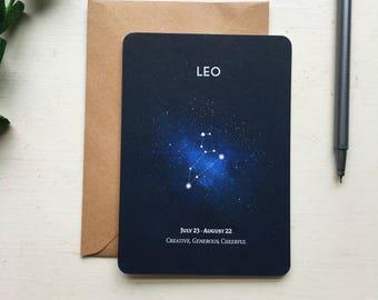 LEO postcard - leo constellation star sign zodiac - postcard greetings card gift birthday stationery paper - zodiac card - star card