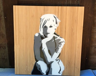 "11"" x 11"" Bamboo Panel Stencil Art Painting Girl With Tattoo"