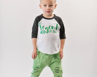 Toddler st patricks day shirt - st patricks day raglan - baby boy - baby girl - toddler boy - legend of luck - irish shirt - baseball tee