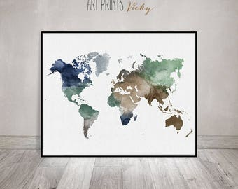 Large World map, Travel map, World map wall art, World map print, world map watercolor, home decor ArtPrintsVicky