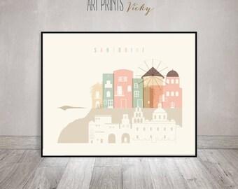 Santorini poster, Santorini art print, Santorini skyline, Wall art, Greece, travel gift, travel decor, home decor ArtPrintsVicky