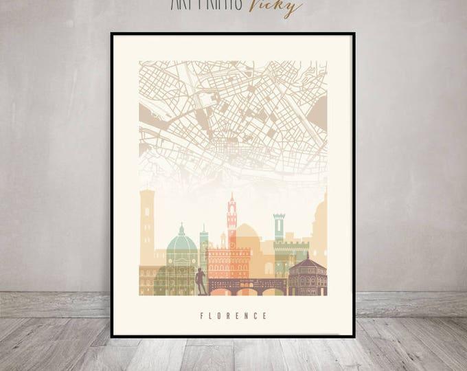 Florence map, Florence art poster, Florence skyline print, Wall art, Italy, Firenze, City print, Travel gift, Home Decor, ArtPrintsVicky