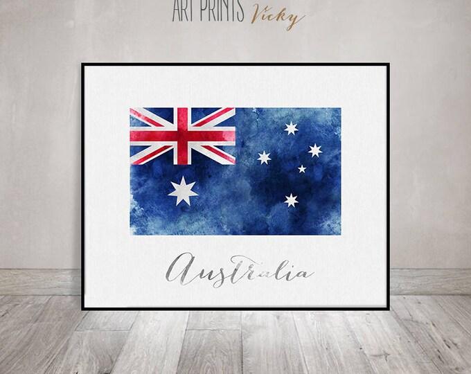 Australia flag print, Australia art poster, Wall decor, Wall art, watercolour flag, typography art, office decor, Home Decor, ArtPrintsVicky