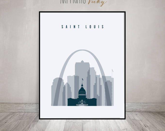 Saint Louis art print, Poster, Wall art, Saint Louis Missouri skyline, City prints, Travel, Typography art, Home Decor, Gift, ArtPrintsVicky