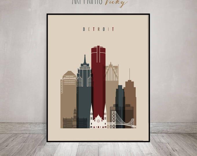 Wall art Detroit print, Poster, Detroit skyline, Travel poster, Michigan cityscape, Travel gift, City poster, Home Decor, ArtPrintsVicky