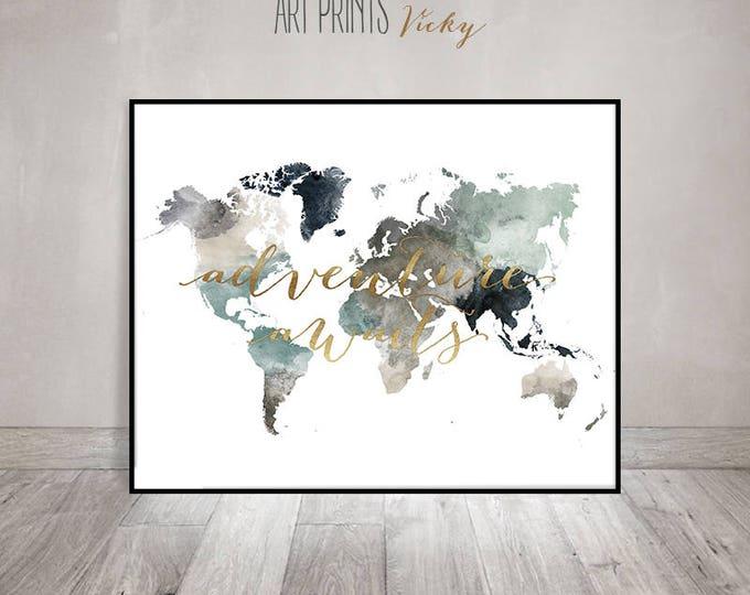adventure awaits world map wall art | ArtPrintsVicky.com