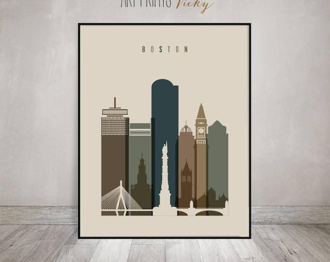 Boston wall art, print, Boston Poster, Wall art, Boston skyline, Massachusetts, Wall decor, travel, Home Decor, Gift, ArtPrintsVicky