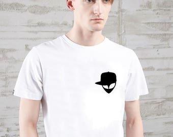 alien pocket tshirt alien in hat 100% cotton Tee tshirt Alien Head Shirt Believe Space Ship Humor Pocket picture T