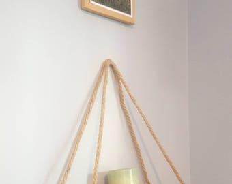Burnt Grain Hanging Shelf - Rope