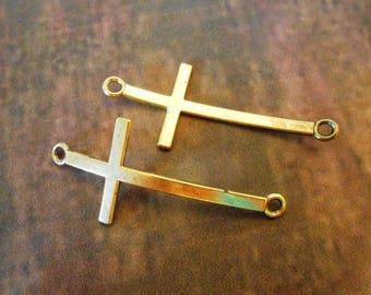 10 Long Antique Gold Sideways Cross Necklace or Bracelet Connectors Curved Horizontal Cross Connectors Gold Jewelry Connectors DIY Jewelry