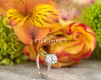 1.0 CT Oval Engagement Ring White 14k/18k Gold Bridal , Vintage Ring , Dainty Oval Ring, Moissanite Oval Ring ,Moissanite Oval Ring, Zhedora