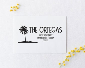 Palm Tree Address Stamp, Tropical Address Stamp, Beach Address Stamp, Custom Rubber Stamp or Self Inking Stamp