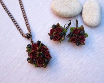 Gift-for-woman Rustic wedding jewelry Fall wedding jewelry Autumn wedding necklace Flower jewelry Flower earrings Flower necklace Dark red