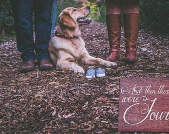 And then there were Four! Personalized Last Name and Due Date Pregnancy Announcement Sign Photo Prop. Dog Sibling, Puppy Sibling - Options!