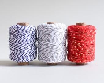 Red gold Baker's Twine, Metallic Cotton Twine, Glitter Twine