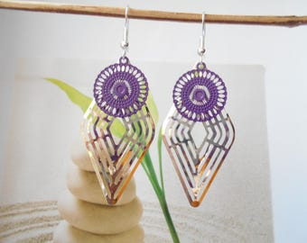 Silver Stamp earrings violet