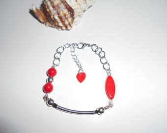 Fancy Red and silver Bead Bracelet