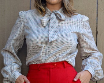 70s Button Down Long Sleeve Blouse with Neck Tie by Jo Hardin Size S M L