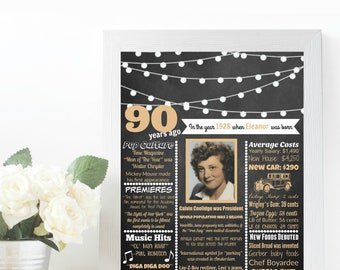 1927 Birthday Poster, 90th Birthday Poster, 90 Year Old Birthday, 90th Birthday Decoration, 90 Birthday, 90 Years, 1927 Birthday PRINTABLE