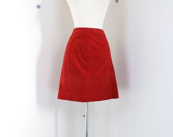 "1990s Skirt - Orange Velvet Skirt - Quilted Short Pencil Skirt - Anthropologie - Size Small  27"" Waist"