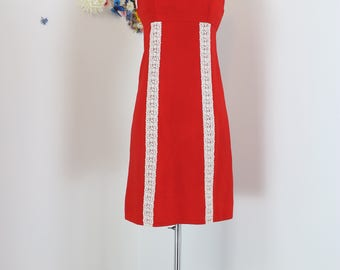 """1960s Dress - Mod Orange Red Shift - Lace - Sleeveless - Mini - Tomato Red - Summer Spring - Handmade - Mad Men Style - Size Small 34"""" Chest"""