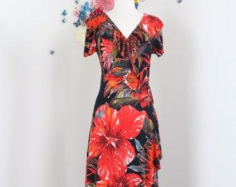 1990s Vintage Red Tropical Floral Midi Dress - Rimma Benetti - Bold Oversized Floral - Short Sleeve, Ruffle Hem & Neckline, V-Neck - Medium