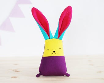 Bright colors toy bunny rabbit, first Easter gift, soft stuffed keepsake, linen toys, purple teal yellow pink toys, gift new mom, jumata