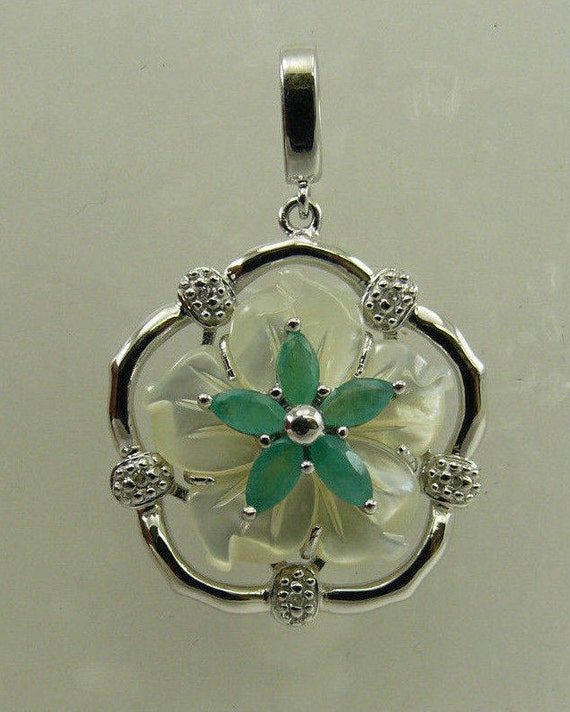 Mother of Pearl, Emerald and Diamond Pendant with Sterling Silver Setting