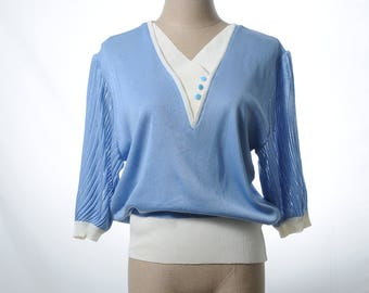 Two Dollars Sale - Vintage baby blue v-neck cable knit top