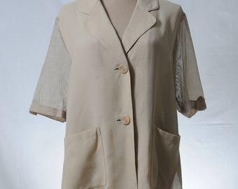 Vintage summer beige short sleeve safari jacket