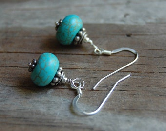 Sterling Silver with Genuine Blue Dyed Howlite Dangle Earrings