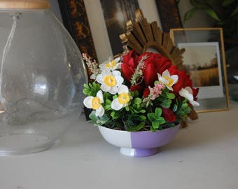 Red Chrysanthemum, Succulents, and Wildflowers Floral Arrangement in Hand Painted Lavender Purple and White Ceramic Bowl