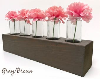 Reclaimed Wood Centerpiece, Rustic Wood Vase Display