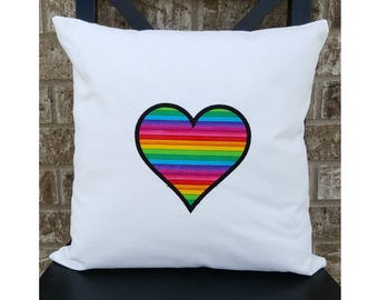 Gay Pride Rainbow Heart Pillow Cover 16x16