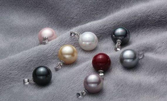 Lovely set of 8 multi coloured 12mm seashell pearl pendant necklaces 18 inch chains