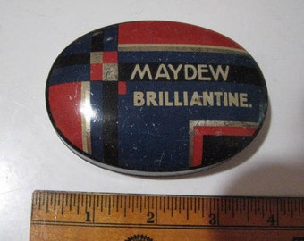 MAYDEW BRILLIANTINE   Art Deco style tin from 1920's  once contained hair pomade