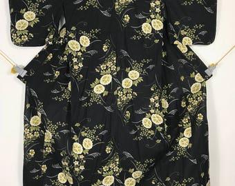 KM393 Vintage Japanese Yukata Kimono Womens Cotton Black Flower