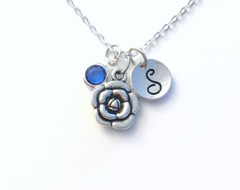 Peony Necklace, Flower Girl Jewelry, Gifts for Mom, Rose Secret Sister Birthday Present initial Birthstone Bridesmaid Wedding Party her mum