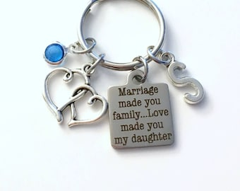 Marriage made you family Love made you my daughter Keychain, Gift for Daughter in law Key Chain Birthstone Initial Present Jewelry Bride our