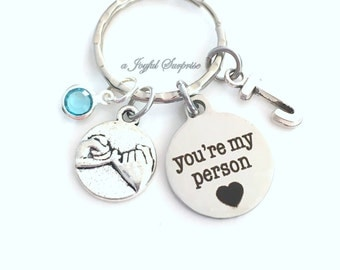 Pinky Swear Key Chain, Best Friend Promise KeyChain, Gift for BFF Keyring You're My Person Youre You Are Girlfriend Bridesmaid present her