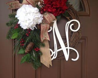initial wreaths for front doorFront door monogram  Etsy