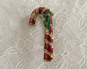 Candy Cane Christmas Pin Brooch