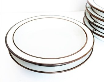 Dansk Bowls, Brown and white soup Bowls, Large soup bowls, set of 2