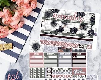 November Monthly Planner Sticker Kit. Perfect for Erin Condren Life Planners! NOVEMBER