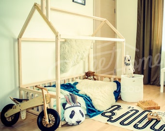 Wood bed CRIB size, house bed frame, bed house, wood bed, baby bed kids bed wooden bed kids teepee wood nursery bed house wooden house SLATS